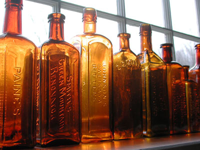 image of amber early Vermont medicine bottles