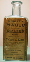 new york  patent hair cure medicine antique glass bottle