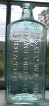 huge antique patent medicine bottle boston iron pontil bottle